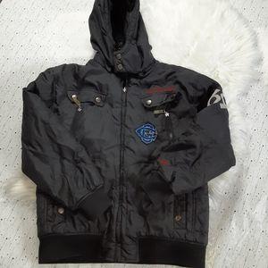 Coogi Mens Black Logo Waist Hooded Winter Coat